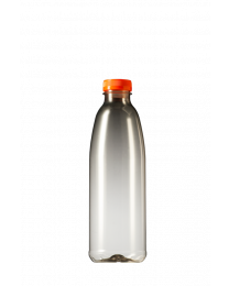 A-PET FLES 1000ML TRANSP + ORANJE DOP - DUC1000DO