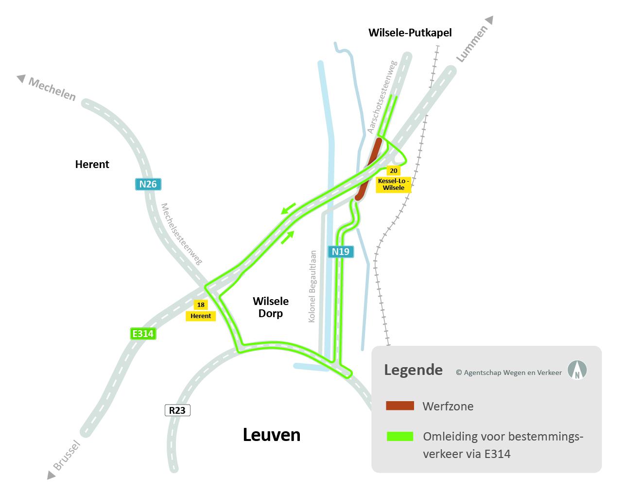 kaart wegenwerken Leuven Noord